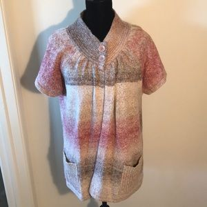 Dress barn pink & cream sweater size 14/16